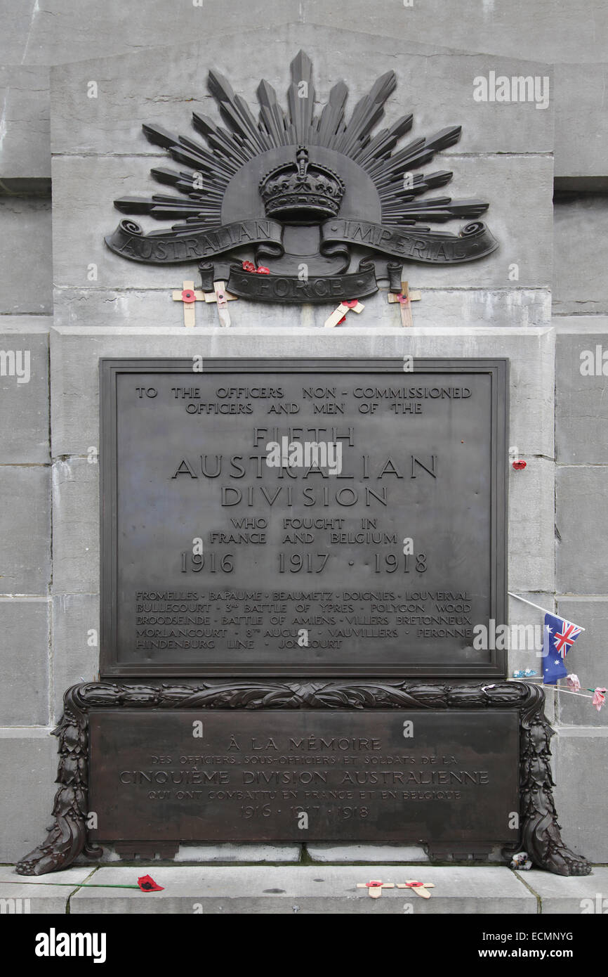 First World War memorial for the 5th Australian Division.Zonnebeke Belgium.In Remembrance. - Stock Image