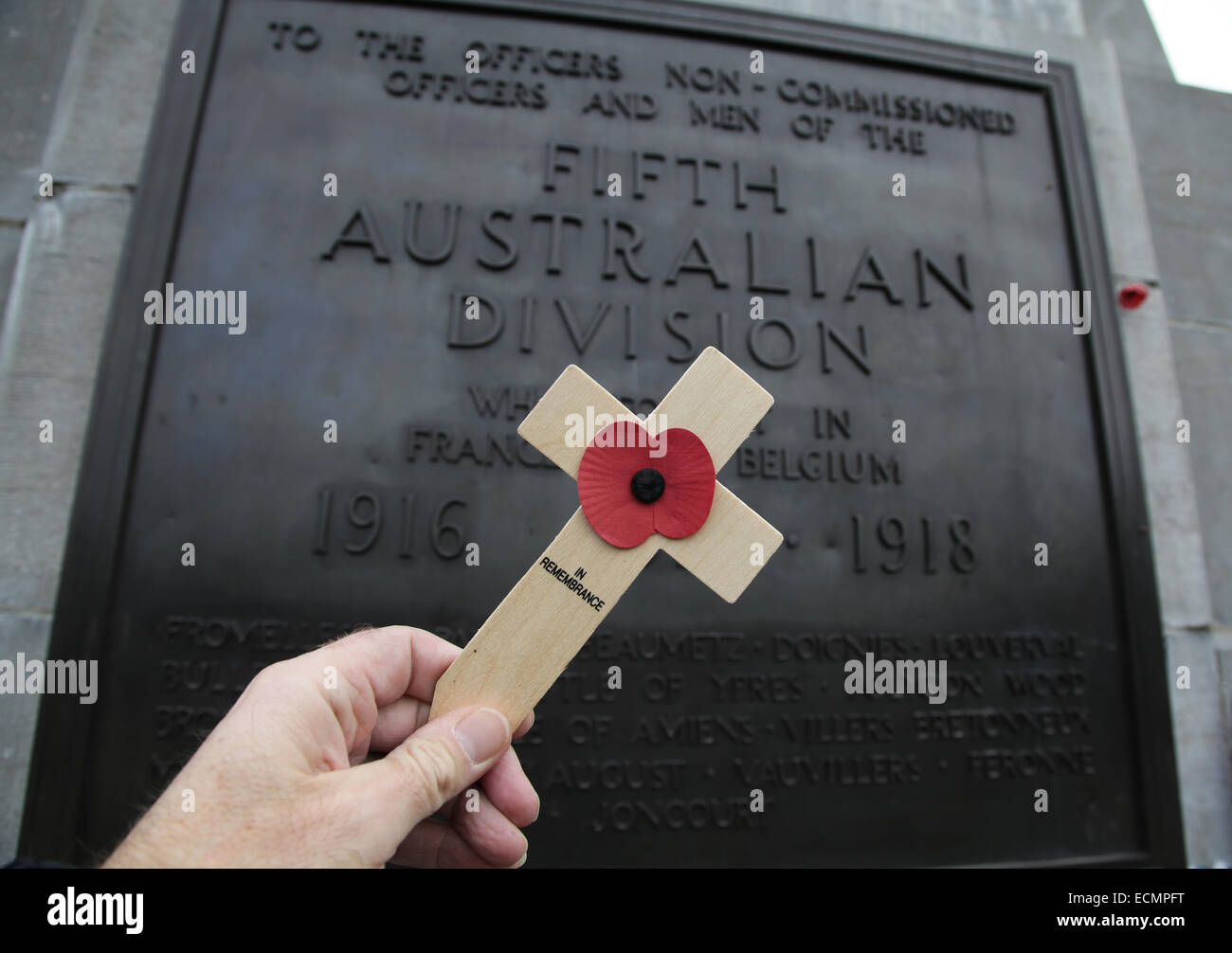 In Remembrance.First World War memorial for the 5th Australian Division.Zonnebeke Belgium. - Stock Image