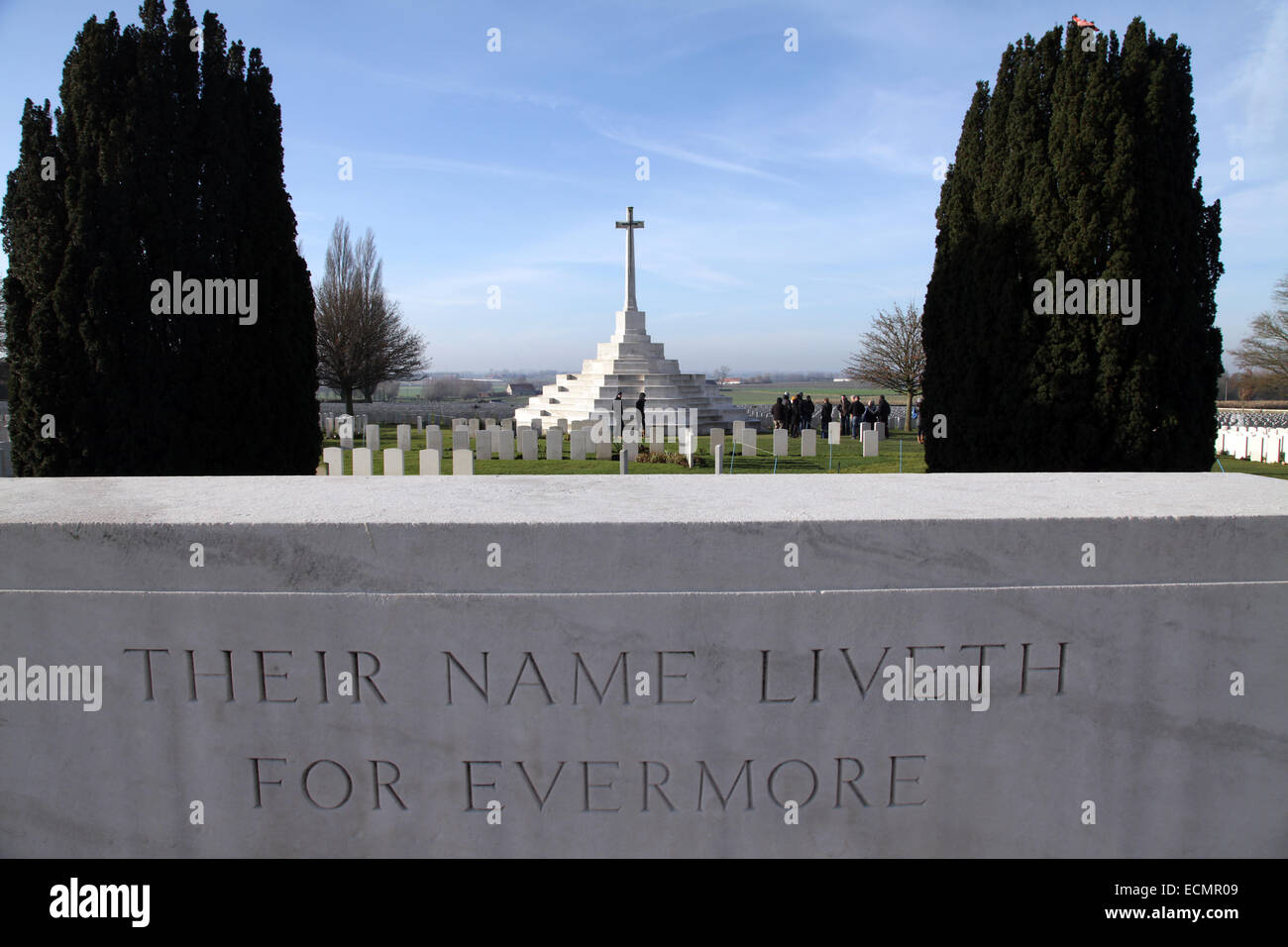 Tyne Cot Cemetery and Memorial to the missing.final resting place of 12000 Commonwealth serviceman,more than 8300 - Stock Image