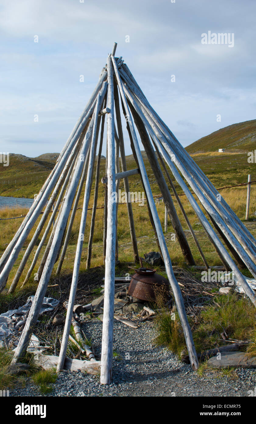 Honningsvag Norway cruise Hurtigruten Sami Tribal teepee sticks at North Cape Northern most place in Europe - Stock Image