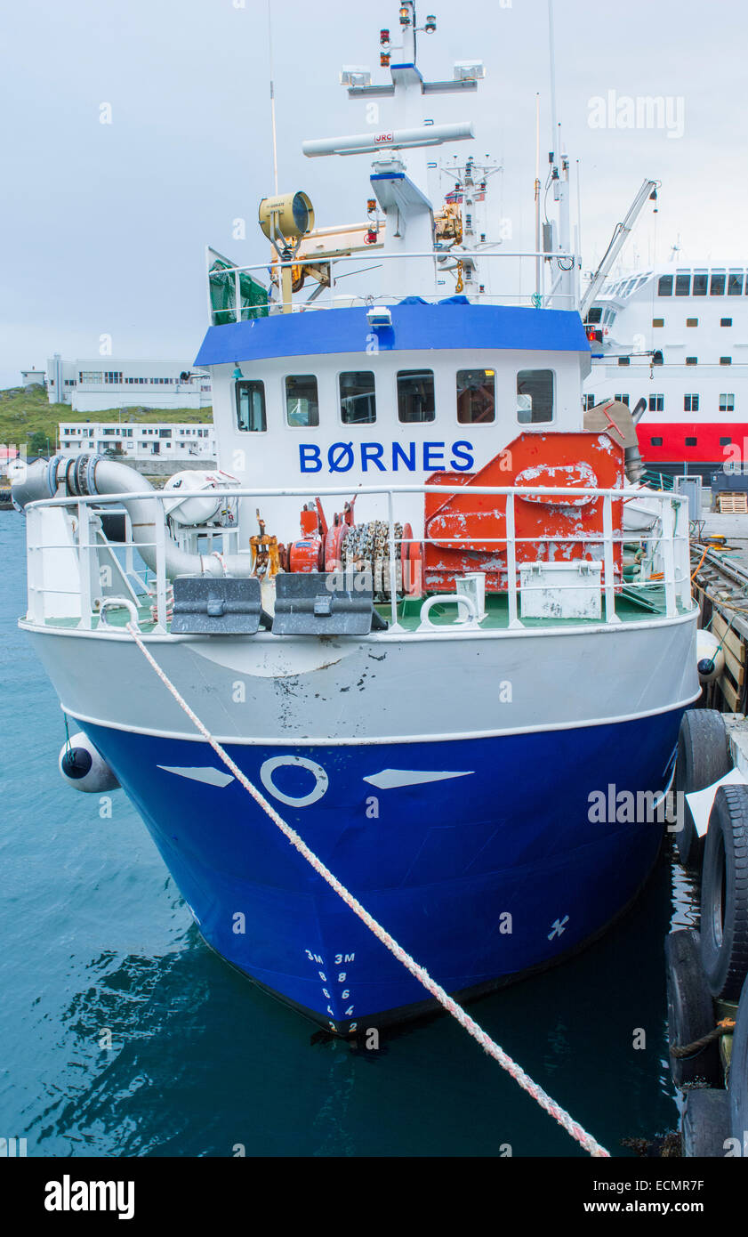 Honningsvag Norway cruise Hurtigruten harbor with fishing boat in Northern most place in Europe - Stock Image