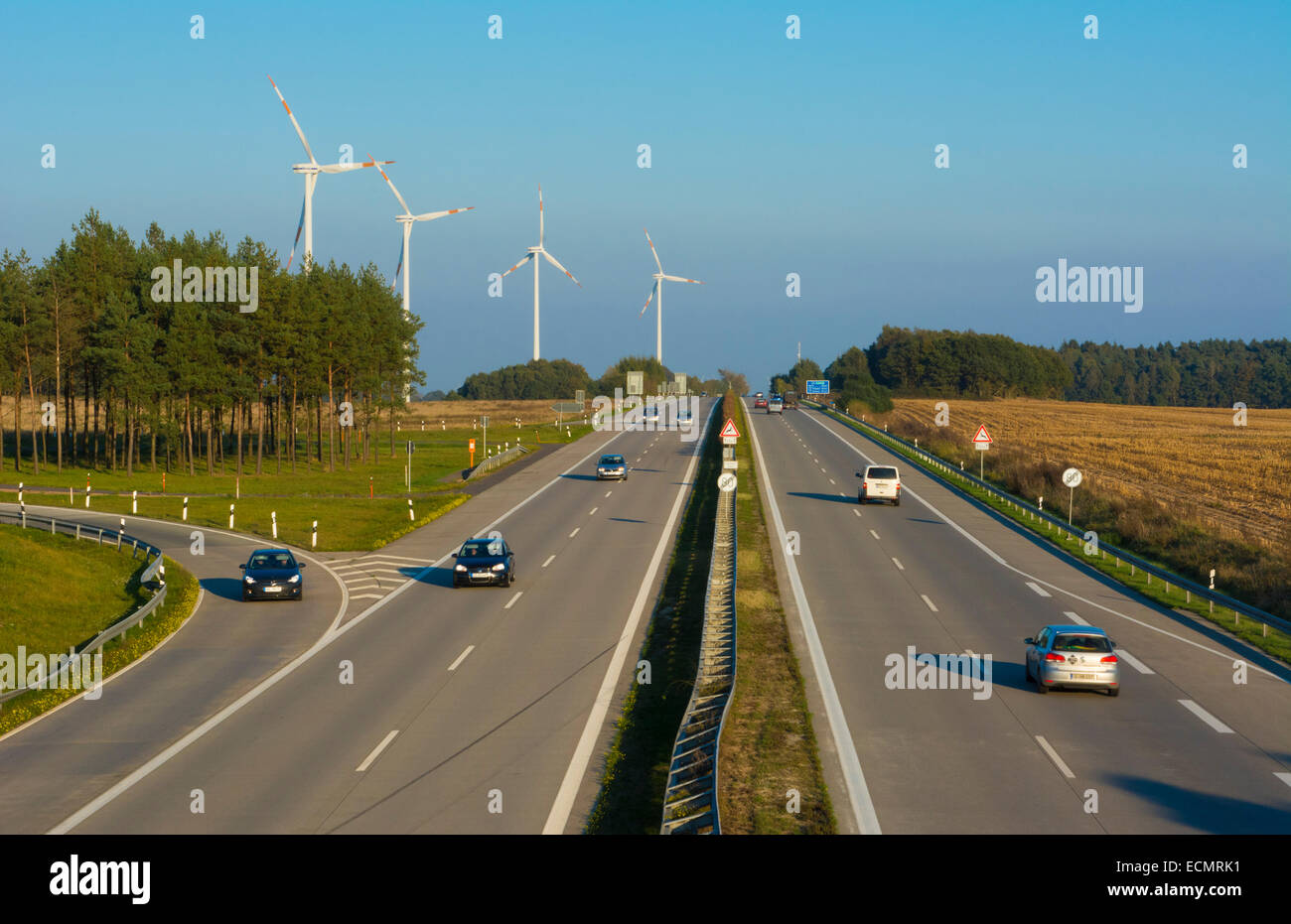 Germany Autobahn Federal Highway no speed limits between Hamburg and Berlin here E 24 - Stock Image