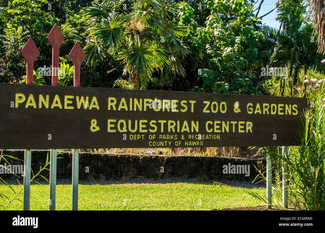 Hilo Hawaii Big Island Panaewa Rain Forest Zoo and Gardens sign green peaceful - Stock Image