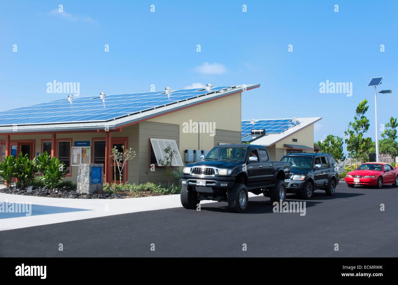 Kona Hawaii Kailua-Kona Big Island solar panels at very important school called WHEA West Hawaii Explorations Academy - Stock Image