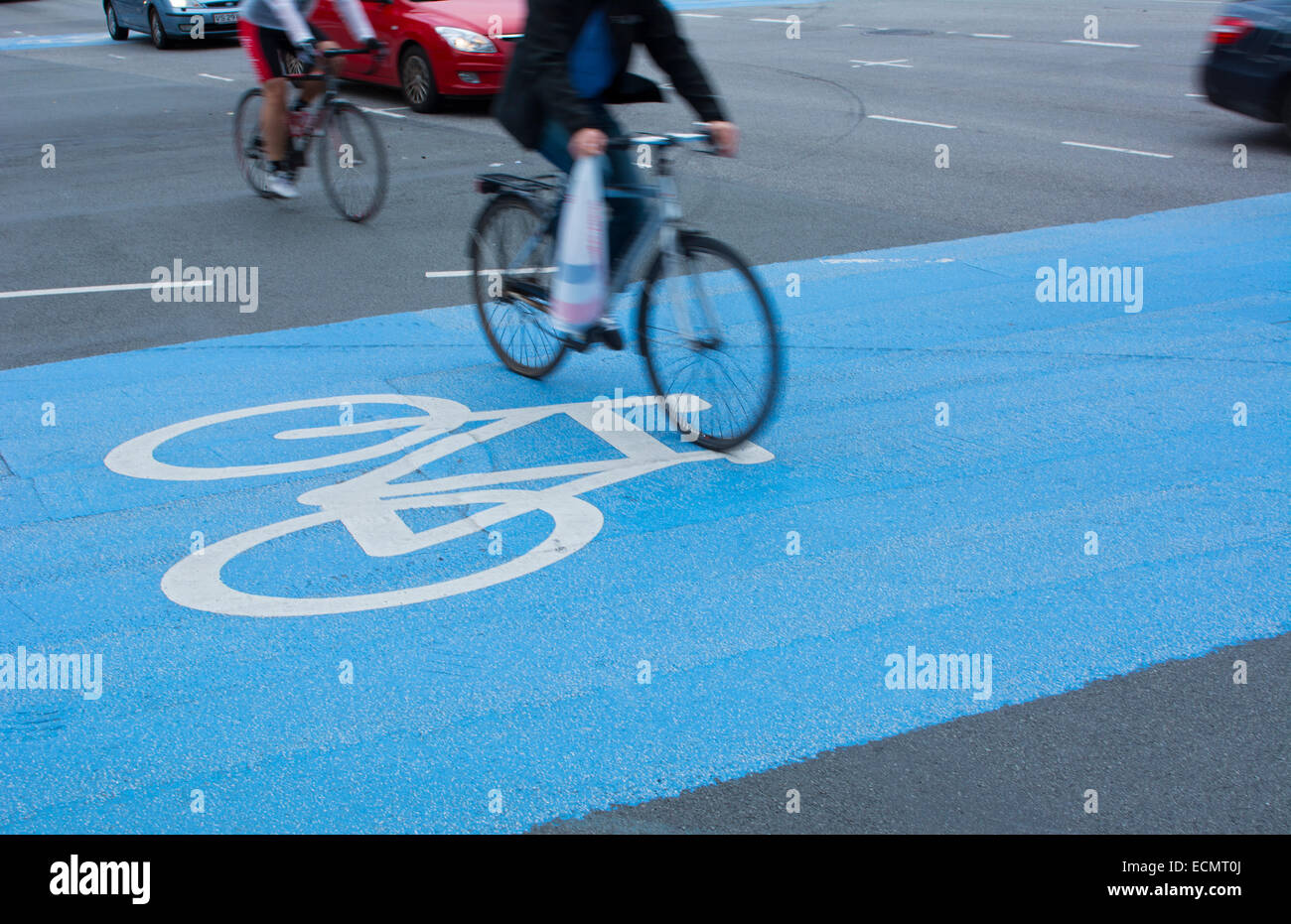 Copenhagen Denmark bicycles riding in restricted bike lanes on H.C. Andersens Blvd in downtown Kobenhavn - Stock Image