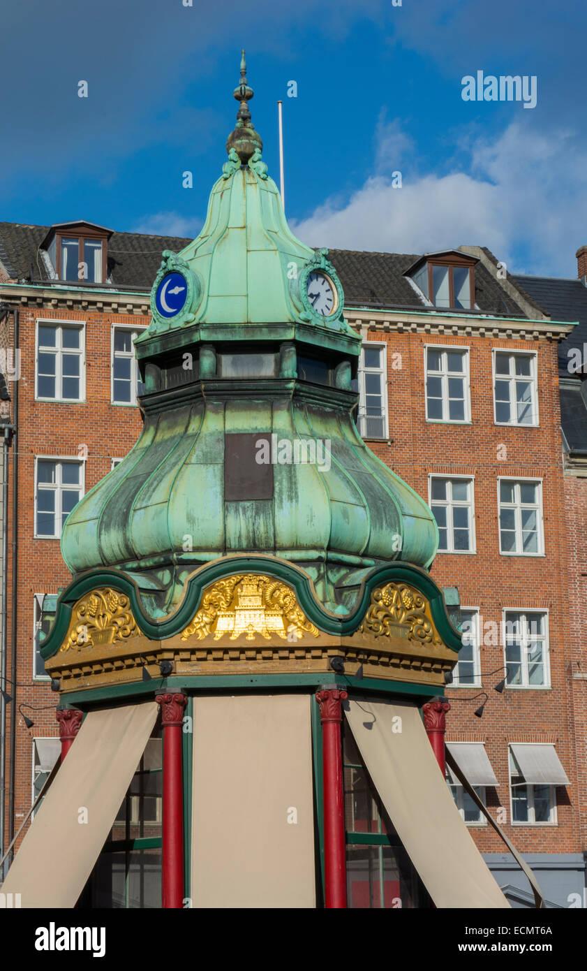 Copenhagen Denmark gazebo downtown color in Kobenhavn in Nyhavn - Stock Image