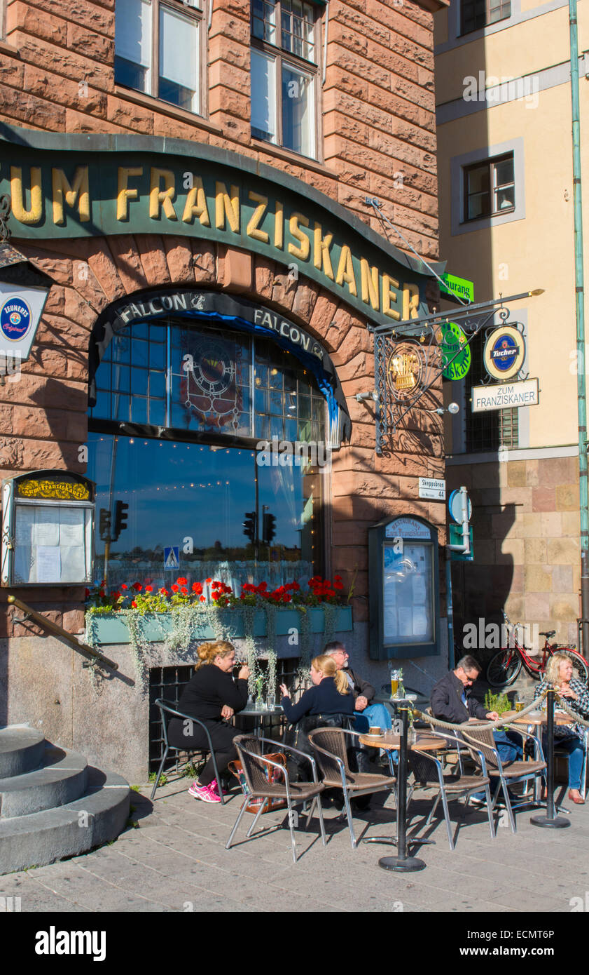 Stockholm Sweden downtown cafe Zum Franziskaner in Old Town of Gamla Stan - Stock Image
