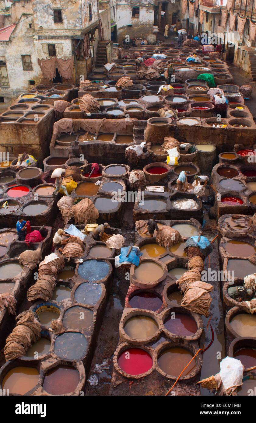 Fez Morocco Old Tannery Called Stock Photos & Fez Morocco Old