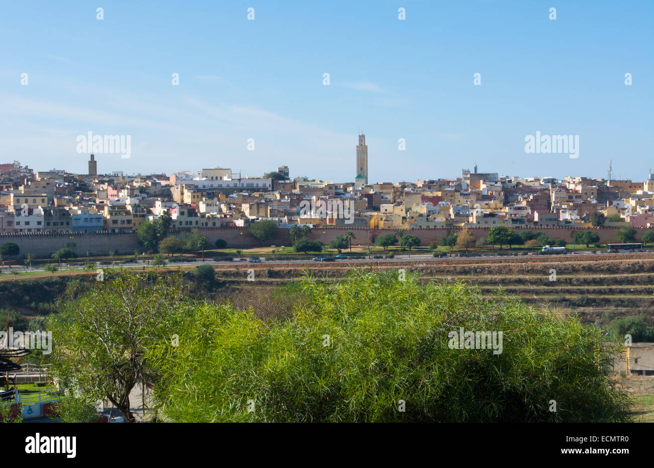 Meknes Morocco city scape panoramic of old city medina with walls of downtown - Stock Image