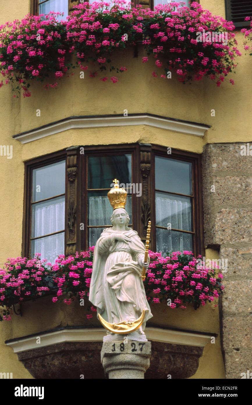 Austria, Hall in Tirol, Virgin Mary Statue - Stock Image