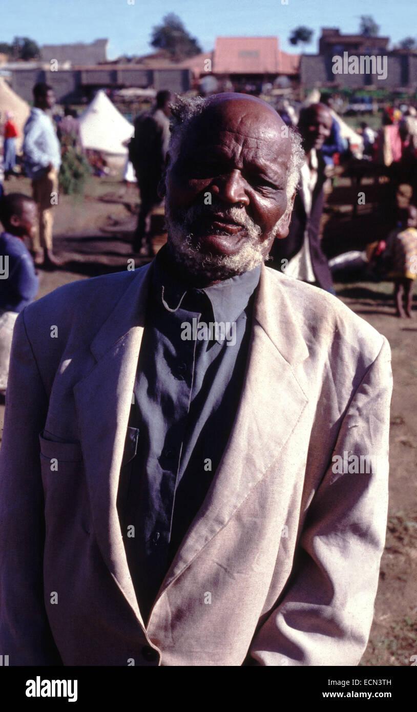 Elderly man in displaced camp in Eldoret Kenya circa 1994 Stock Photo