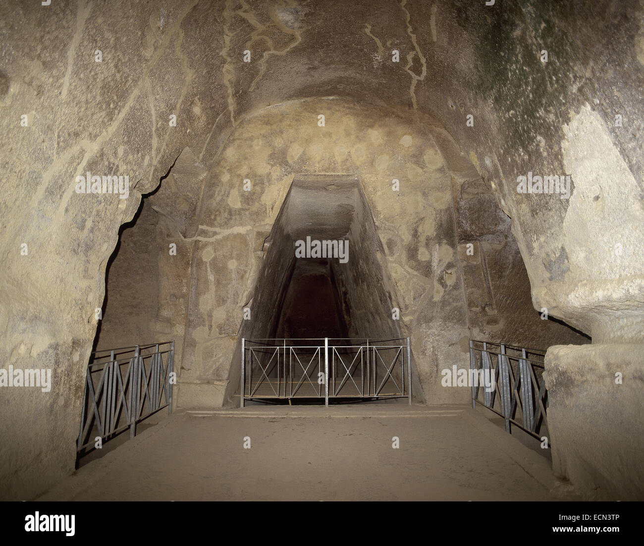 The Cave of the Cumaean Sibyl, a trapezoidal passage that leads to an innermost chamber where the Sibyl was thought - Stock Image