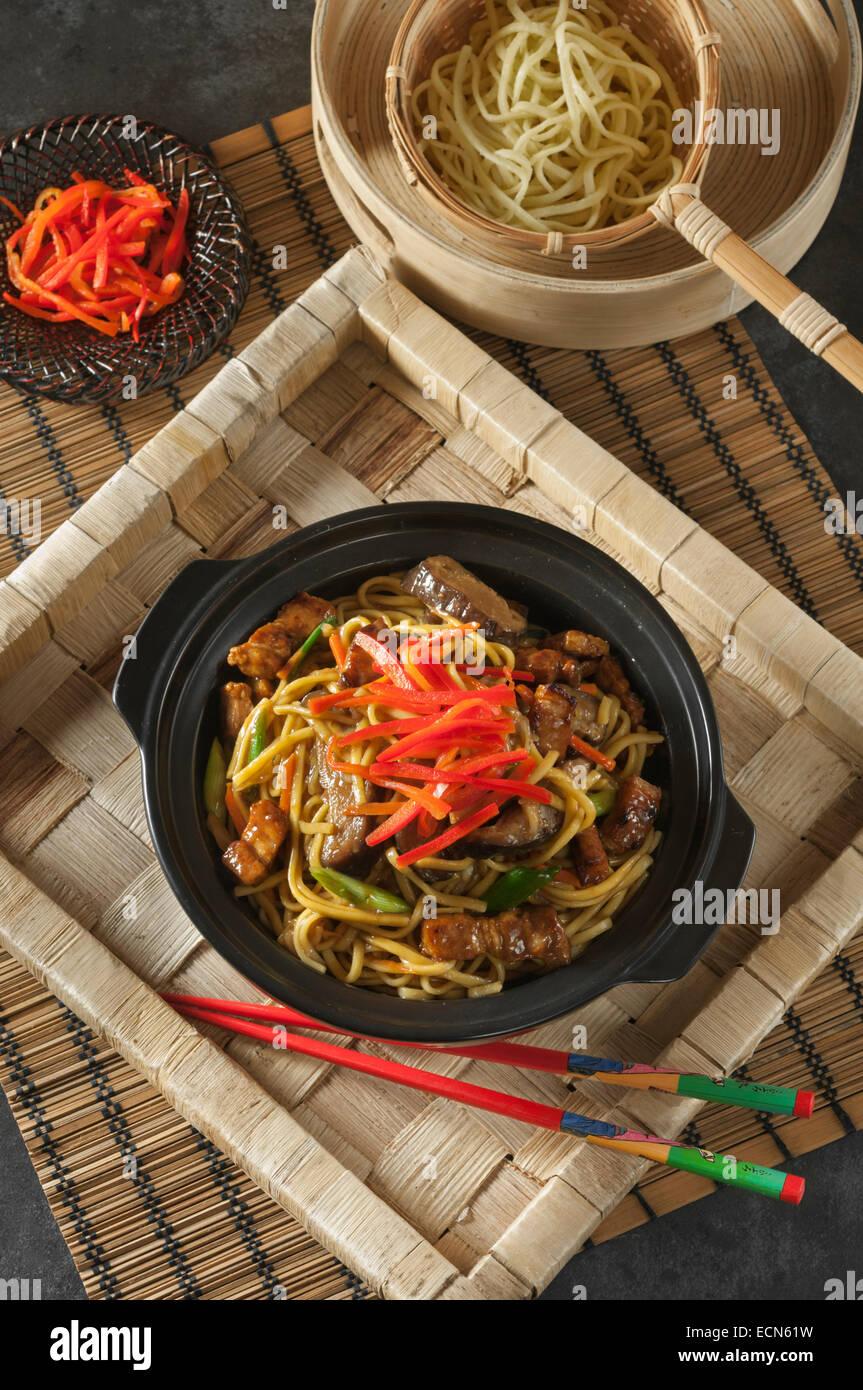 Yakisoba. Fried noodles. Japanese Food Stock Photo