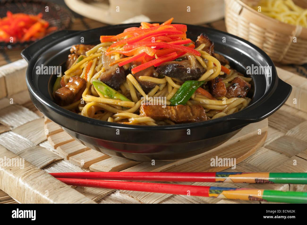 Yakisoba. Fried noodles. Japanese Food - Stock Image