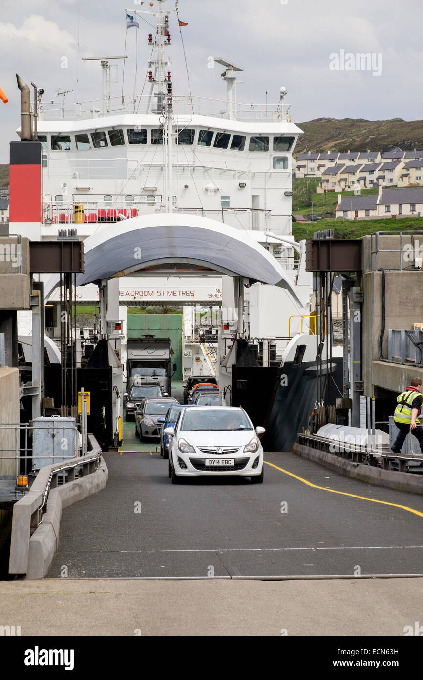 "Cars disembarking from Skye car ferry ""MV Coruisk"" docked at the terminal in port of Mallaig, Highland, Scotland, Stock Photo"