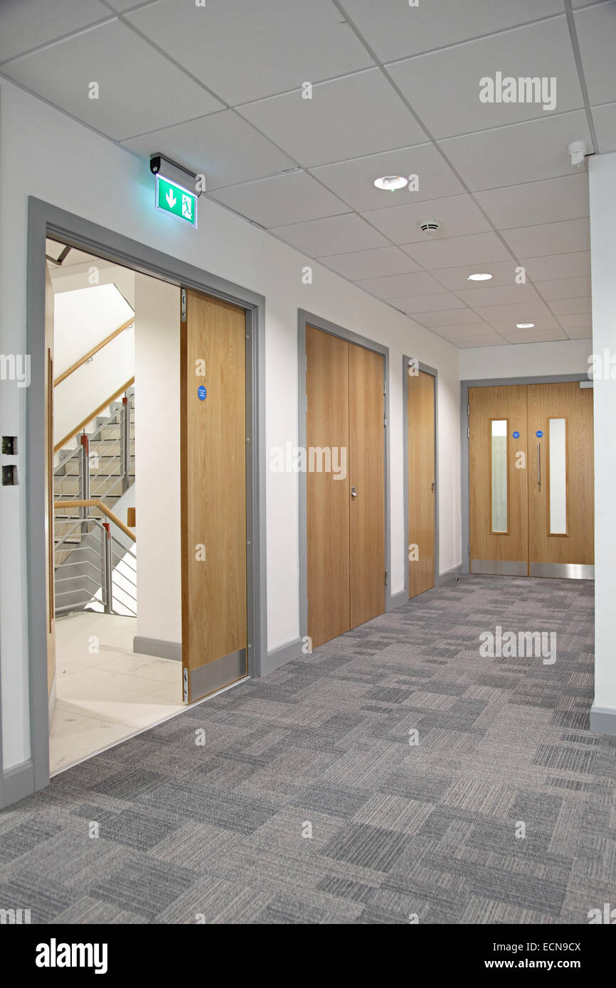 modern office door. Modern Office Corridor Showing Oak-finish Double Fire Doors Leading To Stairs Door