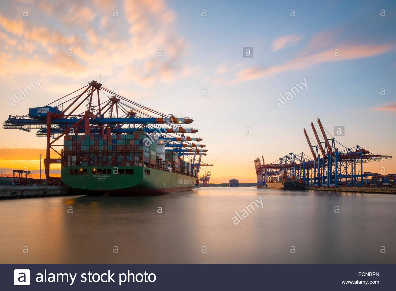 Cargo ships being loaded at Eurokai and Burchardkai in Hamburg Harbor at sunset, Waltershofer Hafen, Hamburg, Germany - Stock Image