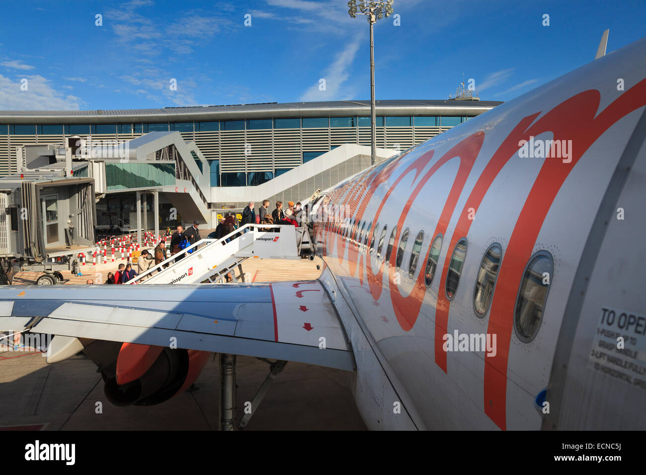 Passengers Using The Front Aircraft Stairs To Board An Easyjet Aircraft    Stock Image