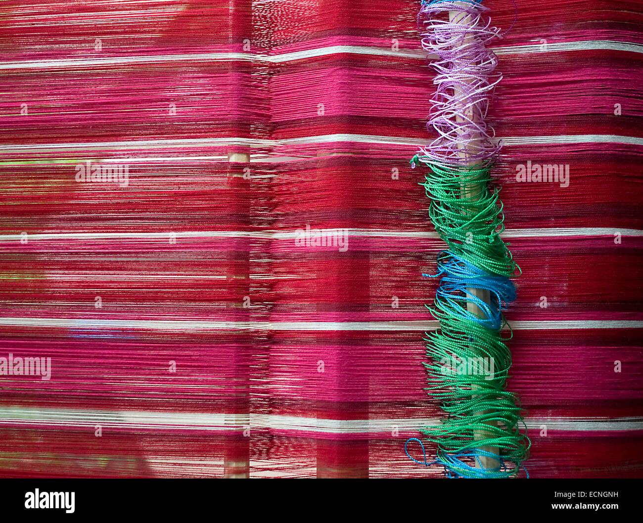 Back strap weaving in Panajachel, Guatemala. - Stock Image
