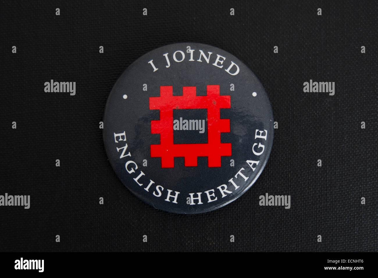 i joined english heritage lapel badge - Stock Image