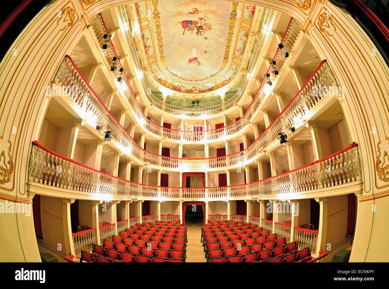 Portugal, Algarve: Auditorium of the historic theater Teatro Lethes in Faro - Stock Image