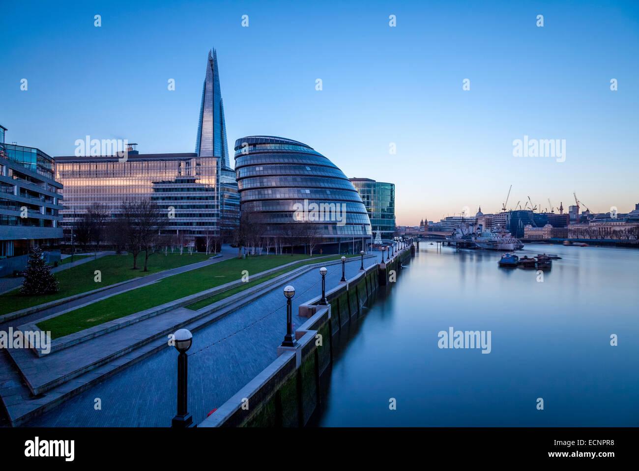 City Hall, The Shard and River Thames, London, England - Stock Image