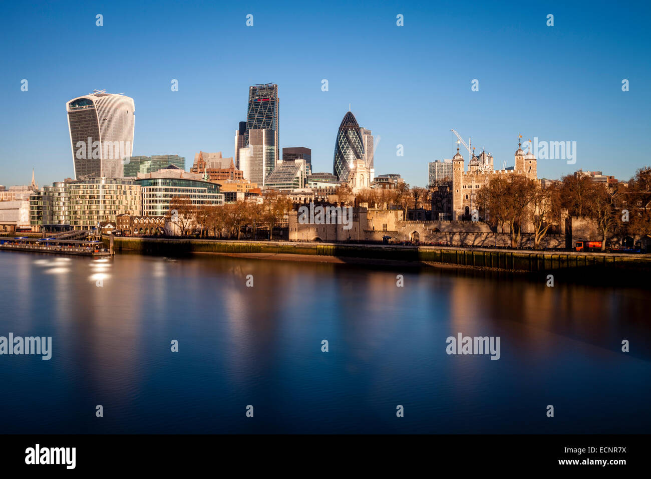 The Tower Of London and City Of London Skyline, London, England - Stock Image