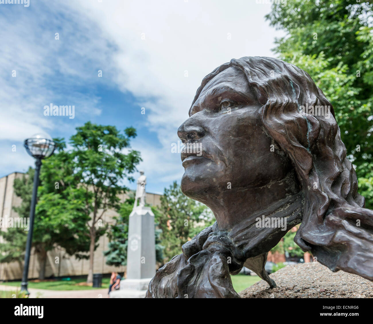 Bronze sculpture of Chief Niwot  near the Boulder County Courthouse. Boulder. Colorado. USA - Stock Image
