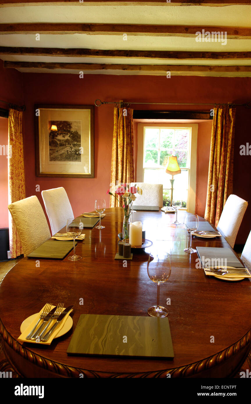 Dining room at The Mason's Arms, Cumbria, UK - Stock Image