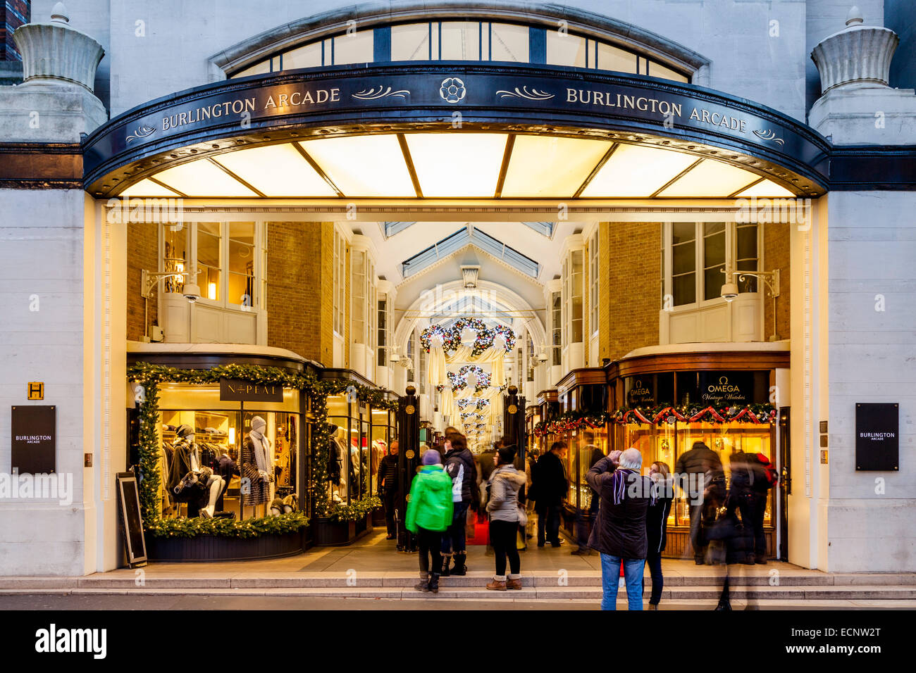 The Entrance To Burlington Arcade Off New Bond Street, London, England - Stock Image