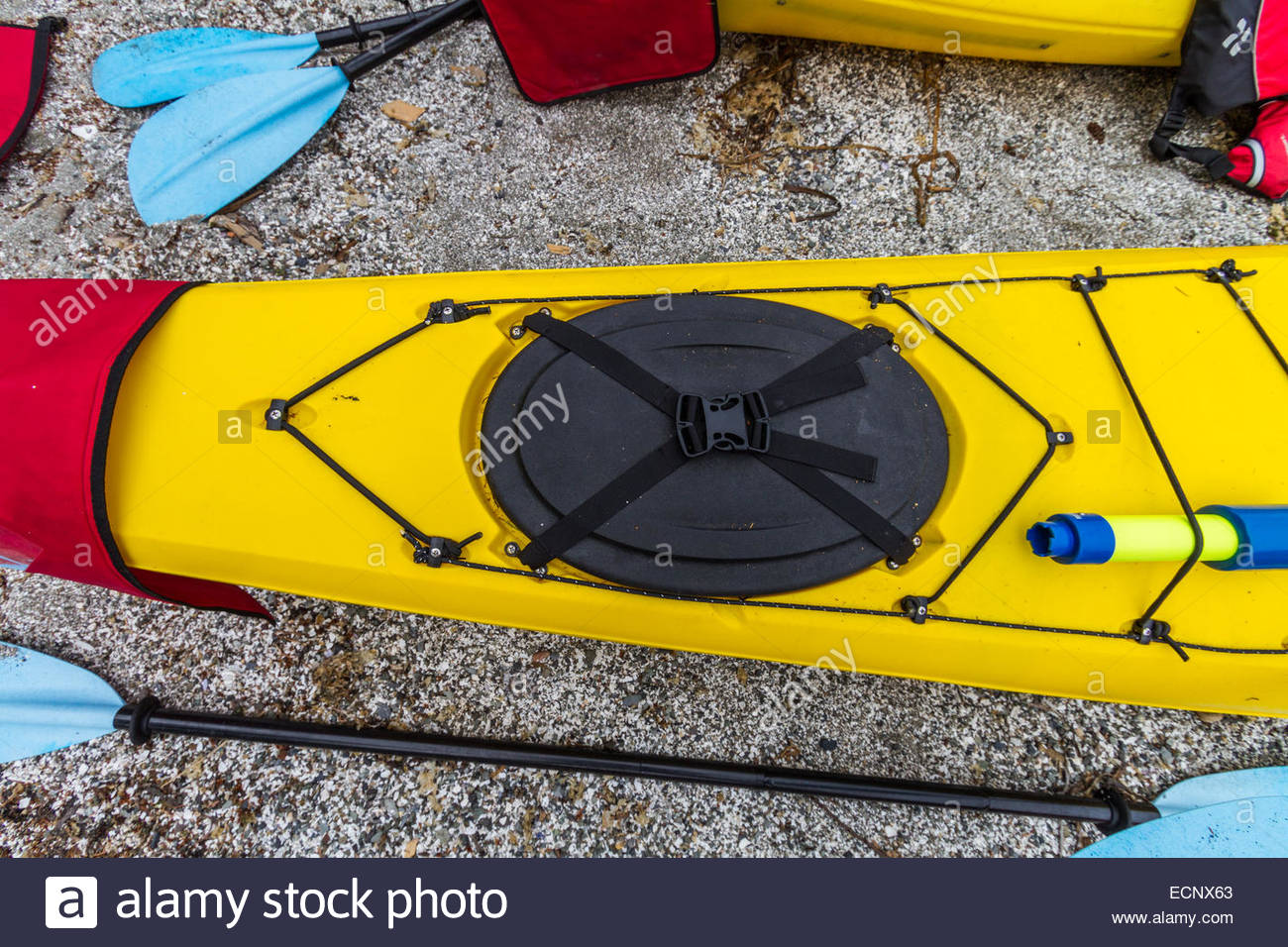 Kayak with oar on rock - USA - Washington - Bellingham - Stock Image
