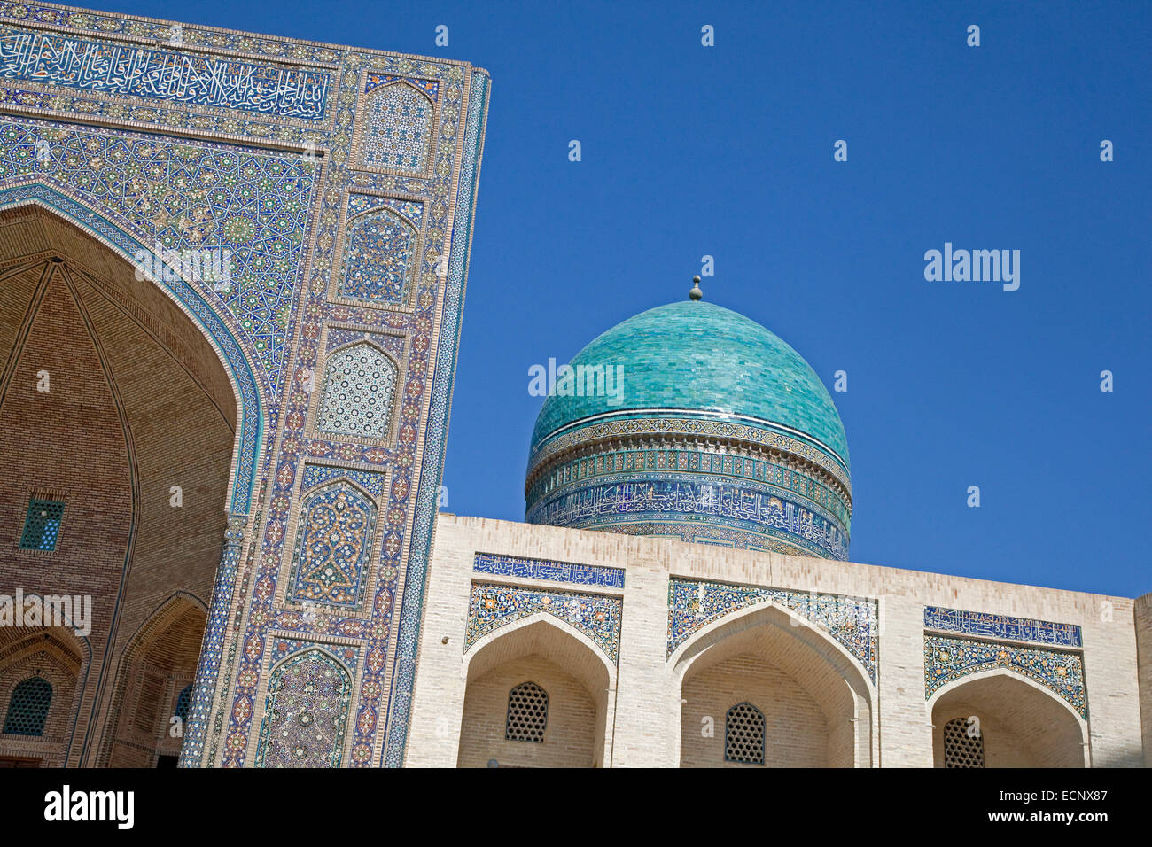 Tiled Iwan portal of the Kalyan Mosque, part of the Po-i-Kalyan Complex in Bukhara, Uzbekistan - Stock Image