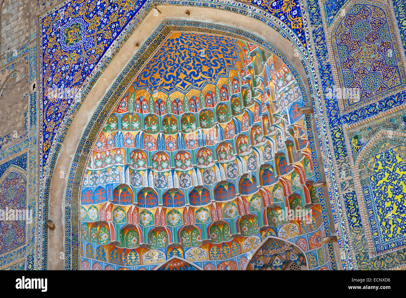 Tiled portal of the Kalyan Mosque, part of the Po-i-Kalyan Complex in Bukhara, Uzbekistan - Stock Image