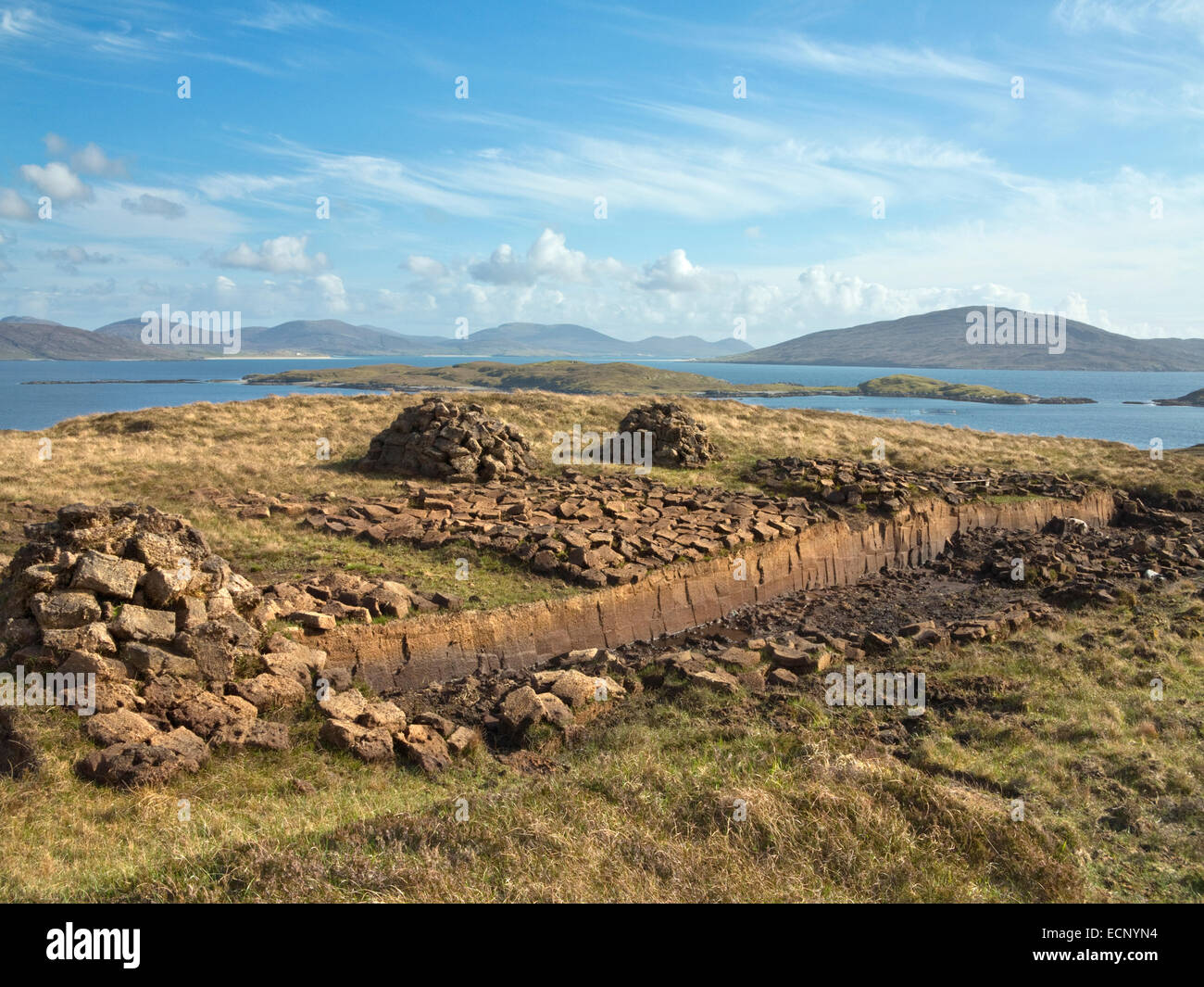 Bank for peat cutting along road near Meavaig on North Harris, Isle of Harris, Outer Hebrides, Scotland, AGPix 2031 Stock Photo