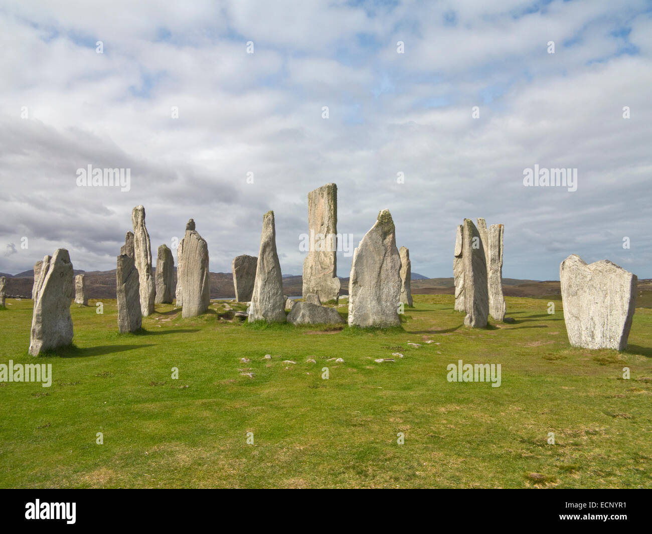 Calanais Standing Stones at Callanish a Bronze Age stone circle on Isle of Lewis, Outer Hebrides, Scotland Stock Photo