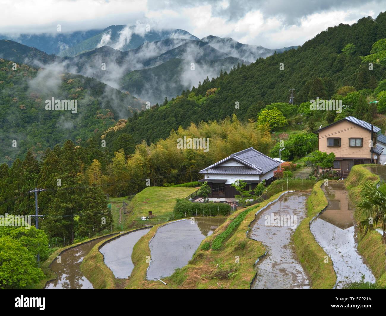 Village of Takahara in Kii Mountain Range, along Kumano Kodo Pilgrimage Route, Kii Peninsula, Wakayama Prefecture, - Stock Image