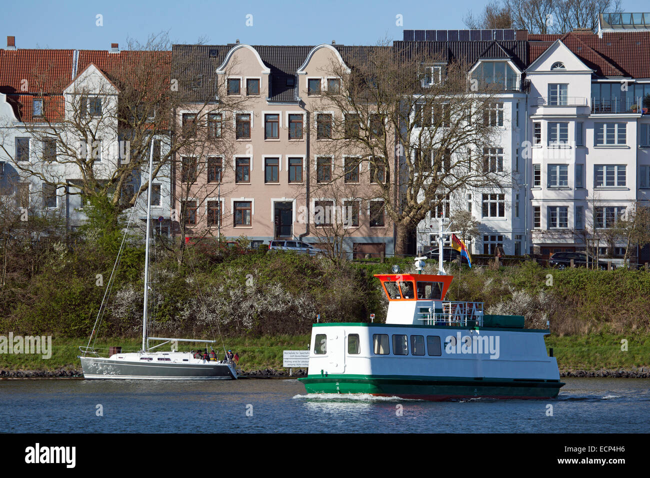 Kiel Canal, Ferry crossing in Holtenau, Germany - Stock Image