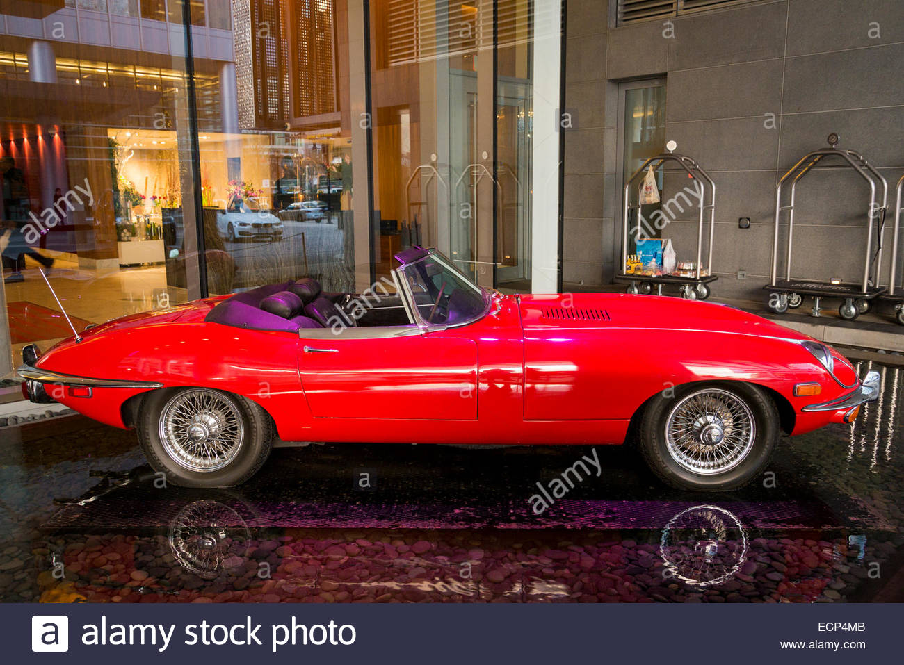 Red Jaguar sports car convertible E Type 42 - Stock Image