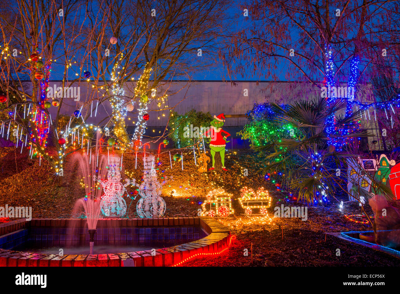 Christmas Light display, Park and Tilford Gardens, N. Vancouver, British Columbia, Canada - Stock Image