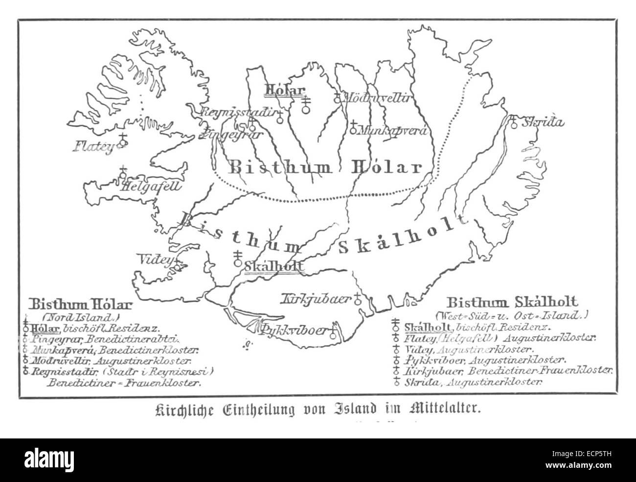 (Baumg1889) Kirchliche Einteilung (Bistümer) Islands im Mittelalter - Stock Image