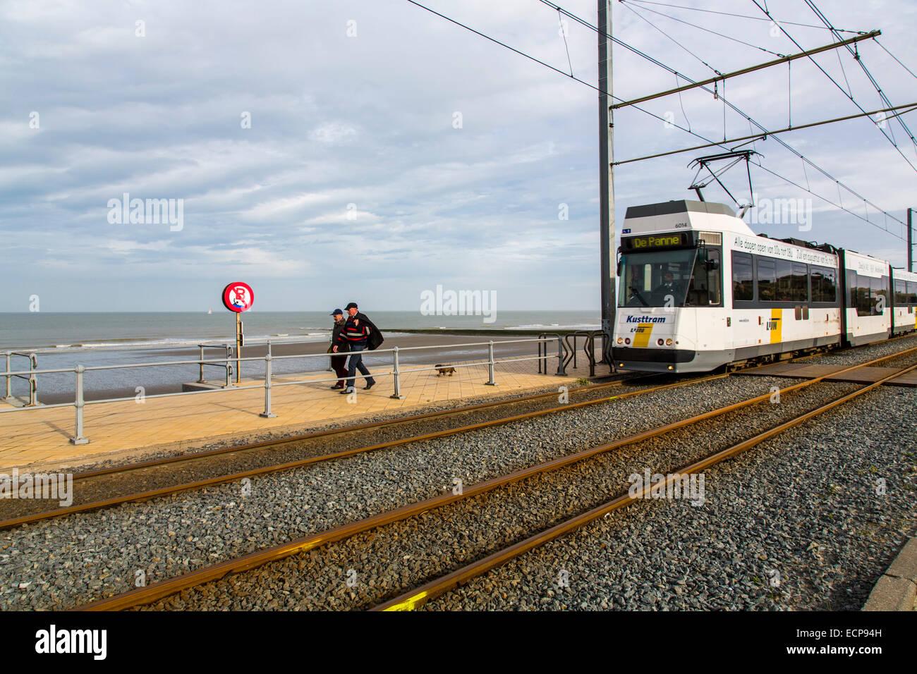 Coastal tram,  travels along the entire 70 km of the Belgian coast, Stock Photo
