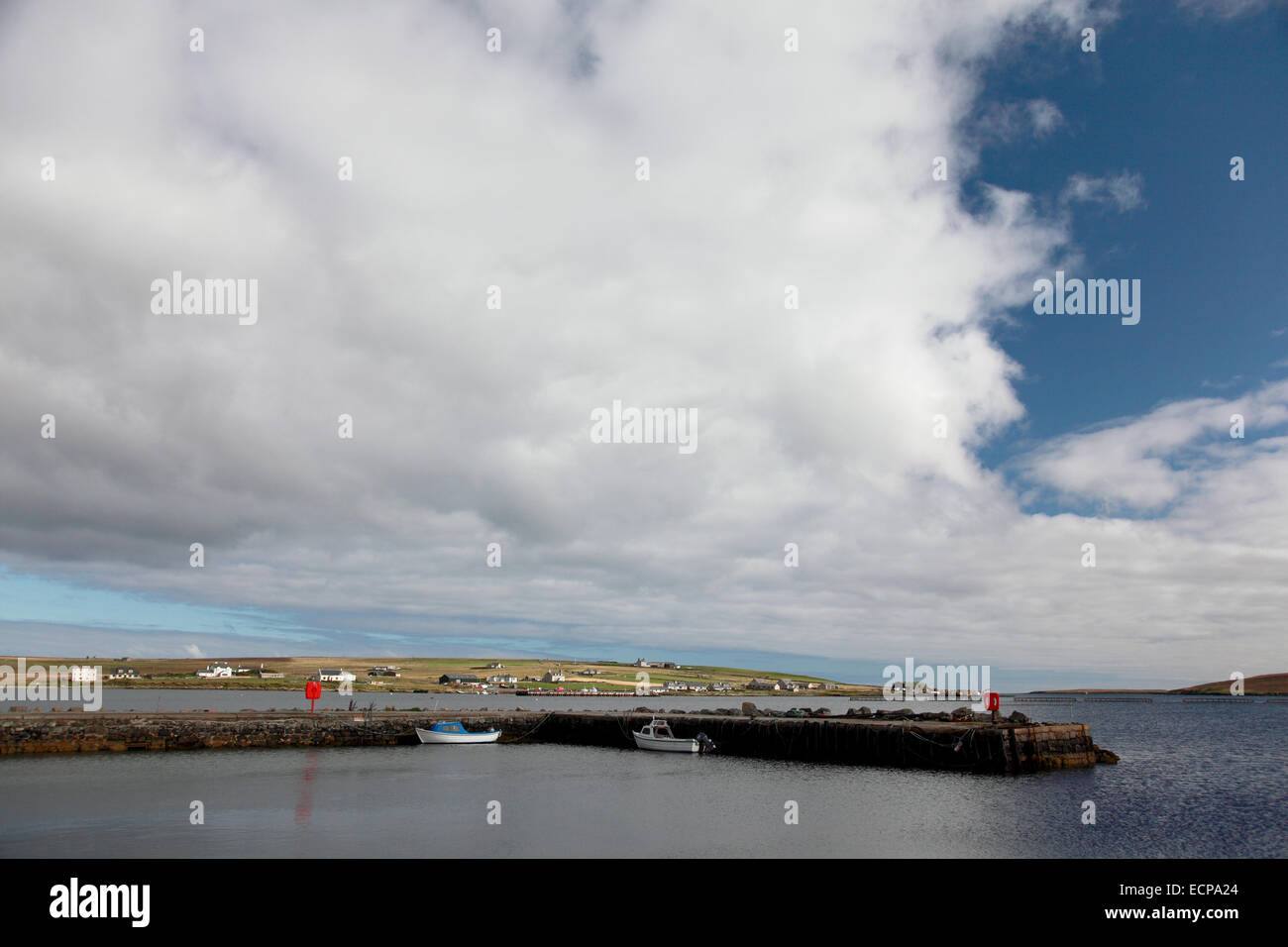 The harbour at Uyeasound on the south coast of Unst - Stock Image