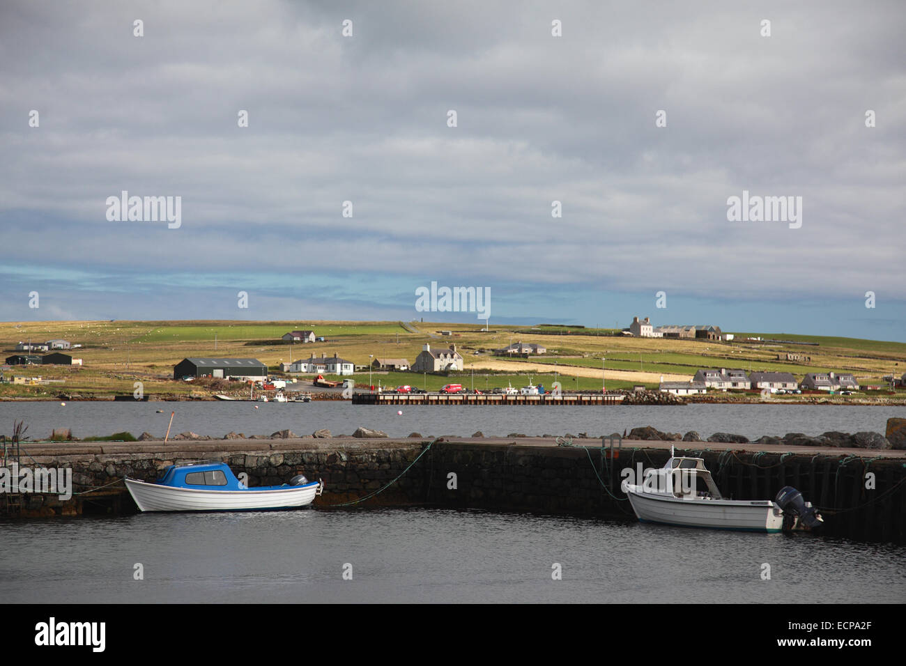 The harbour at Uyeasound on the south coast of Unst Shetland - Stock Image