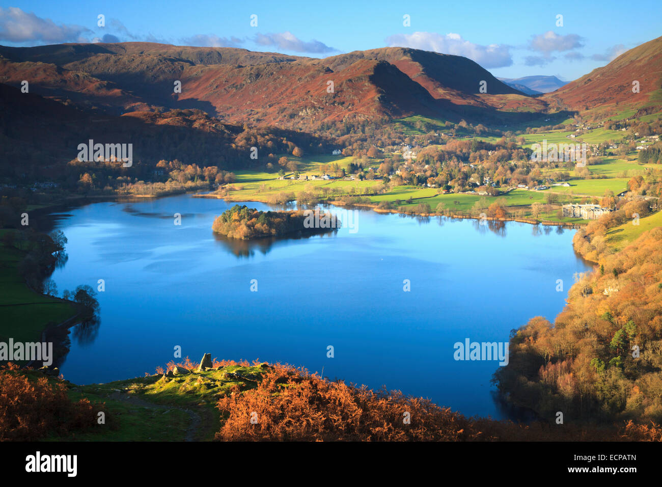 Grassmere in the Lake District National Park captured from Loughrigg Fell. - Stock Image