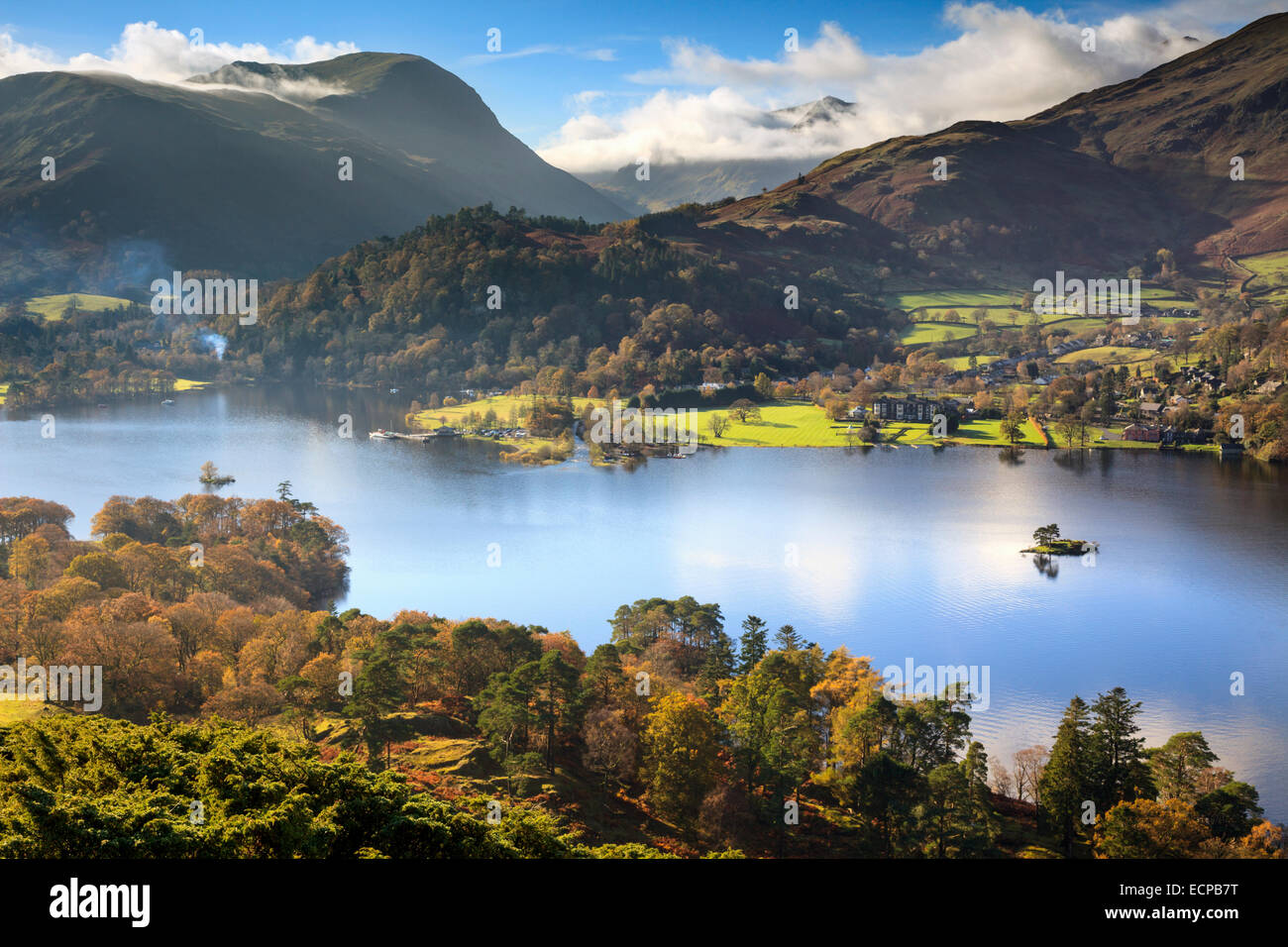 Ullswater in the Lake District National Park captured from Silver Crag with Glenridding and the Helvellyn range Stock Photo