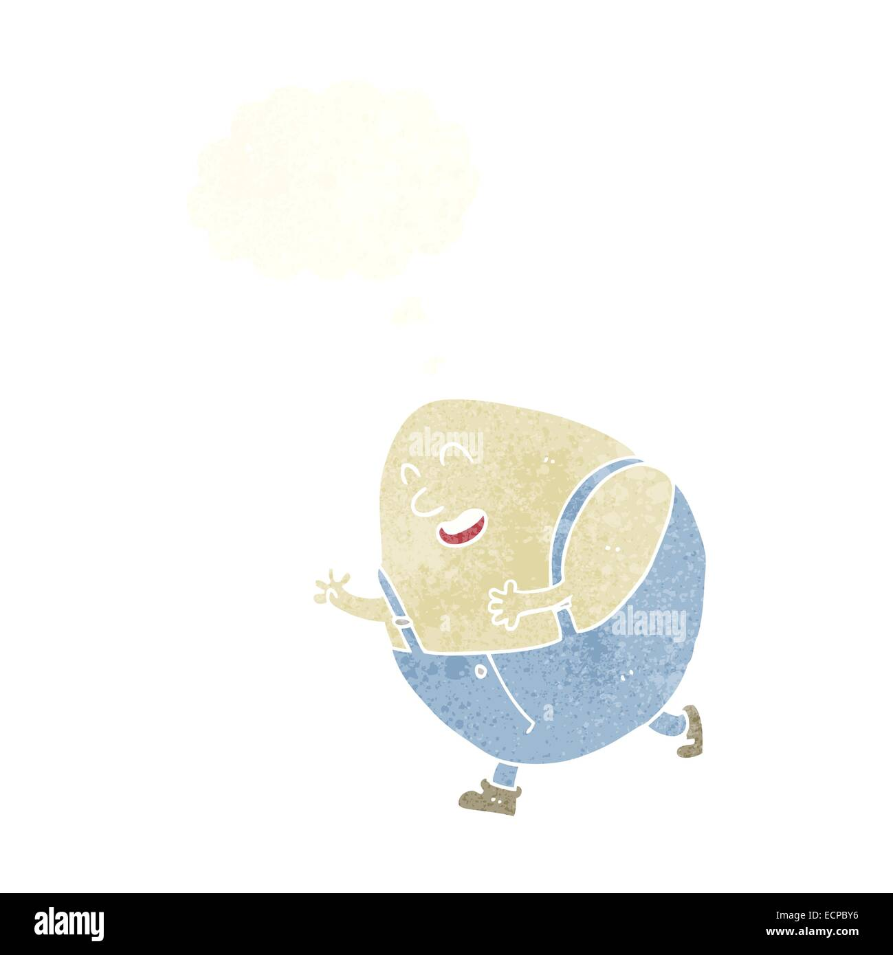 cartoon humpty dumpty egg character with thought bubble Stock Vector