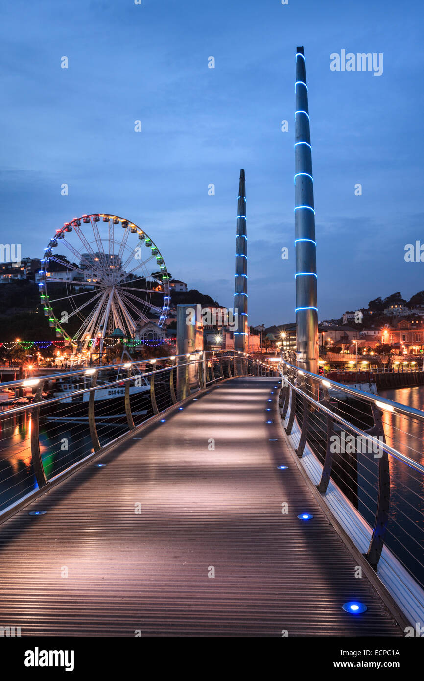 The Millennium Bridge in Torquay Harbour - Stock Image