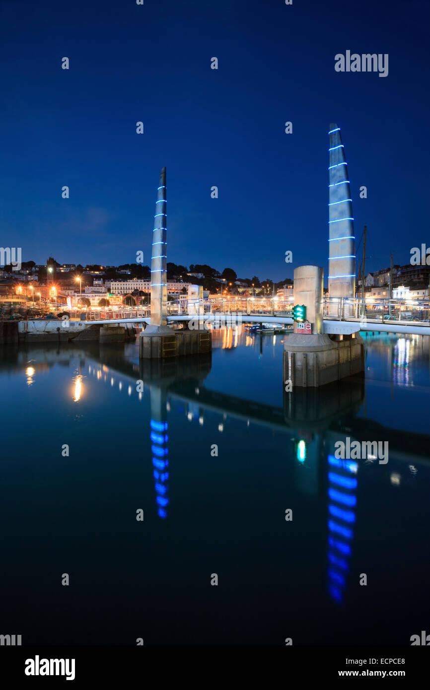 The Millennium Bridge in Torquay Harbour. - Stock Image