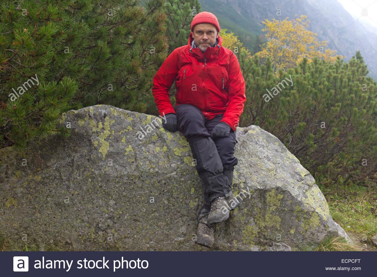 hiker, High Tatra Mountains, Slovakia, Western Carpathians - Stock Image