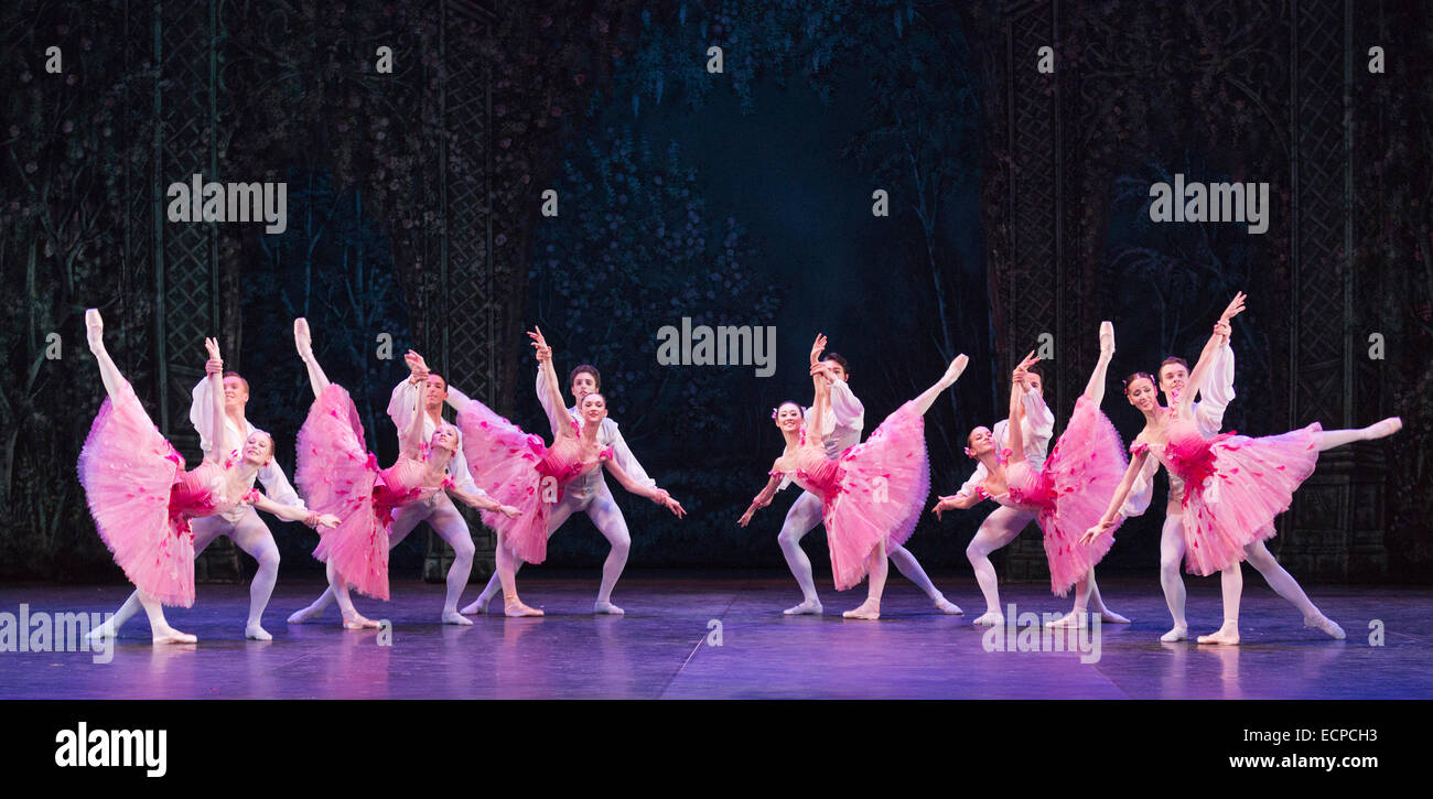 Waltz of the Flowers with dancers of the English National Ballet and Students from the English National Ballet School. - Stock Image